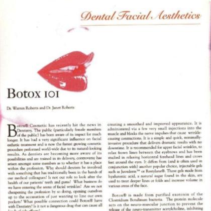 Dental Facial Aesthetics: Botox 101